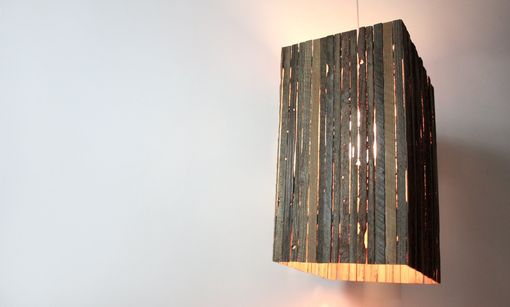 Hand Made Lath Pendant Lamp Reclaimed Barn Wood By
