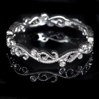 Custom Made Filigree Diamond Wedding Band - Art Deco