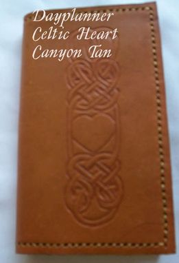 Custom Made Custom Leather Day Planner With Celtic Heart Design And In Canyon Tan