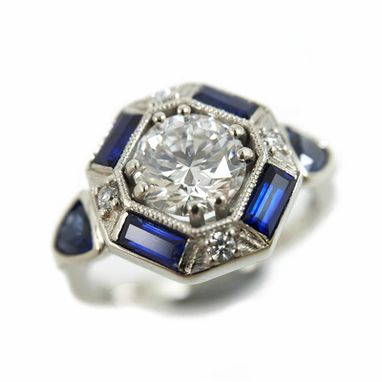 Custom Made Art Deco Diamond And Sapphire Ring