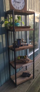 Custom Made Reclaimed Wood And Iron Shelving Unit