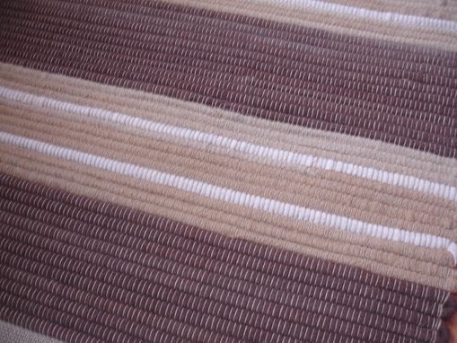 Custom Made Earthy Brown Or Blue Brown Wool Rug 2 Ft X 4 Ft Hand-Woven