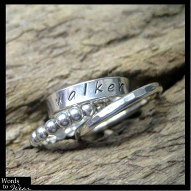 Custom Made Personalized Hand Stamped Sterling Ring Stacking Trio
