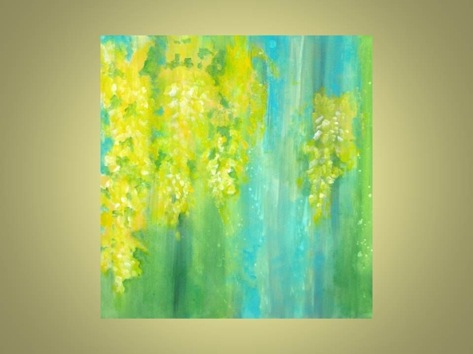 Custom Made Yellow Flowers Original Abstract Painting Laburnum 18 X18 Blue Green