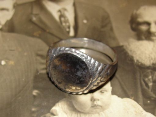 Custom Made Small Round Antiqued Sterling Silver Signet Ring