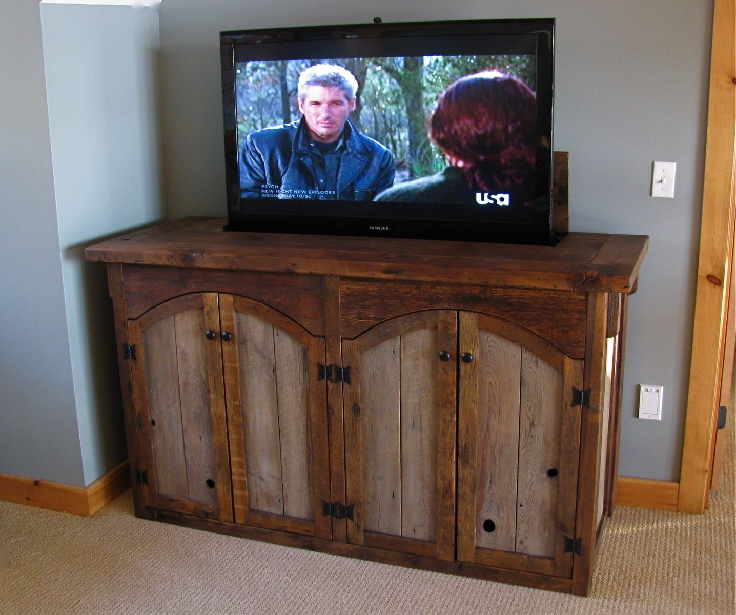 Custom rustic tv lift cabinet by custom rustic furniture - Custom made cabinet ...