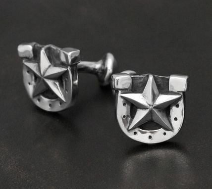 Custom Made Lucky Bastard Horse Shoe Cufflinks In Sterling Silver
