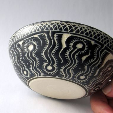 Custom Made Handmade Stoneware Bowl With Hand Carved Ammonite Design