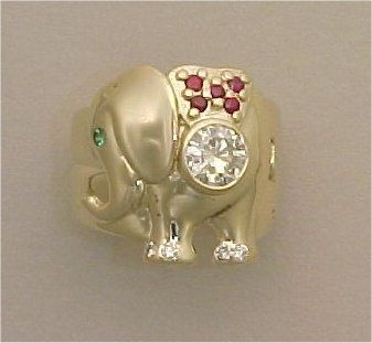 Custom Made Diamond And Ruby Elephant