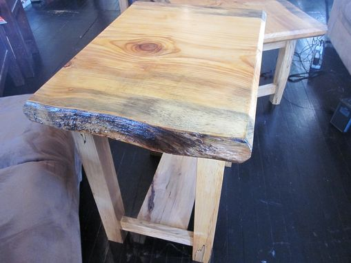 Custom Made Spalted Curly Maple Side Table With Live Edge Pine
