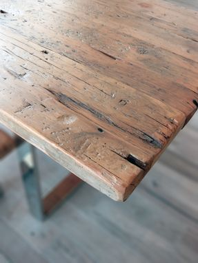 Custom Made Modern Reclaimed Wood Table And Benches