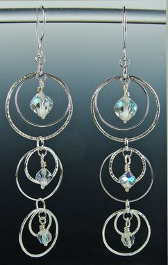 Custom Made Cut Crystal And Sterling Silver Chandelier Earrings