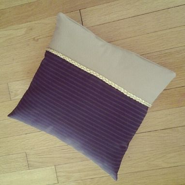 Custom Made Large Leather-Trimmed Floor Pillow