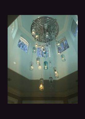 "Custom Made Multi Pendant Chandelier 29 Light Murano Seeded Glass ""Blue Wave"" Lighting"