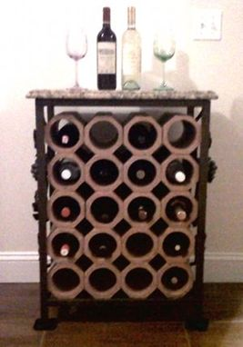 Custom Made 20-Bottle Wrought Iron & Terracotta Wine Rack