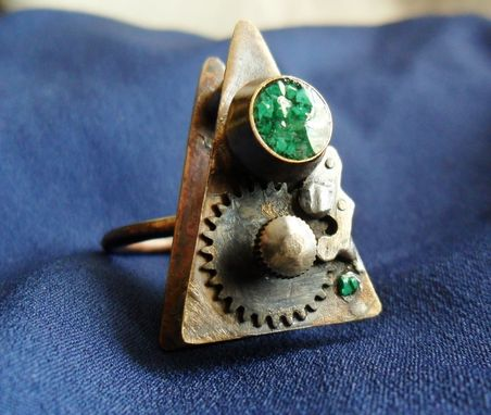 "Custom Made Brass Ring With Antique Watch Gears And Malachite Inlay ""Switching Gears''"