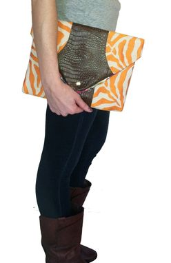 Custom Made Orange Crush Envelope Clutch-Gator