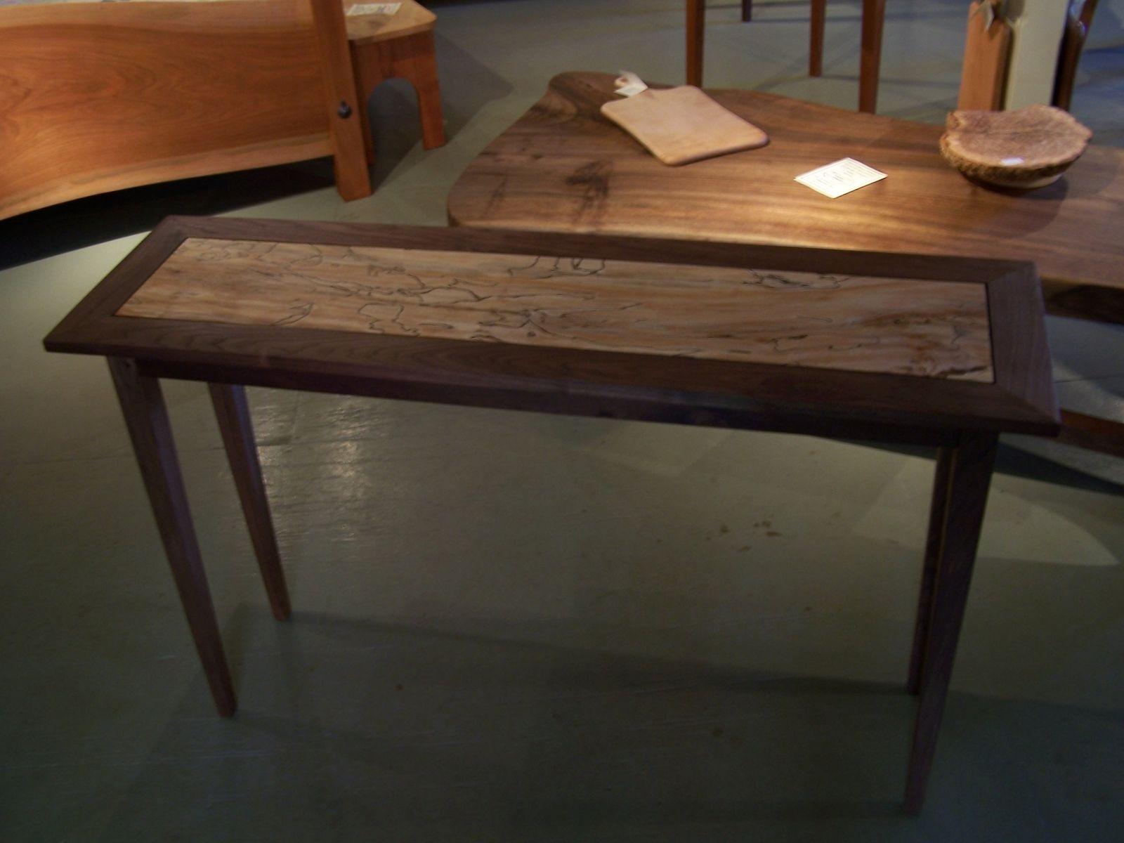 Custom Made Spalted Maple And Black Walnut Hall Sofa Table