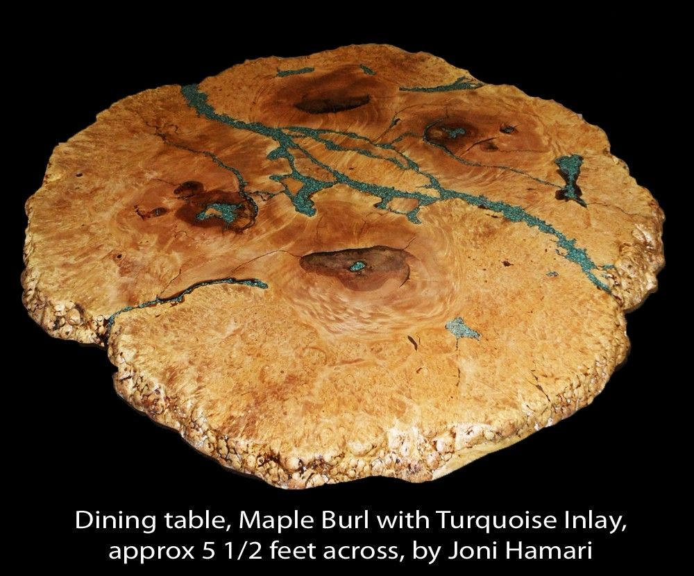 Hand Made Maple Burl Table With Turquoise Nugget Inlay By