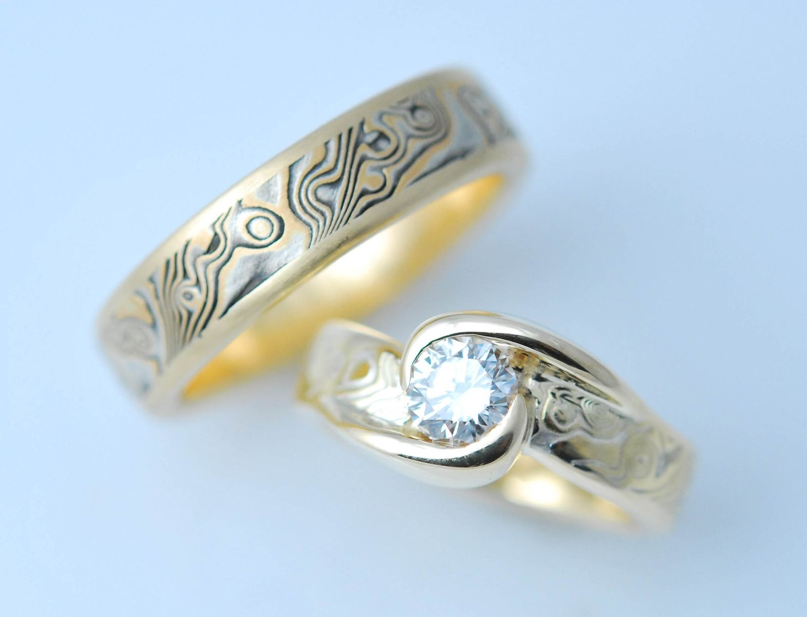 fire large custom collections matched wedding woodgrain dsc gane set rings mokume engagement in with moissonite