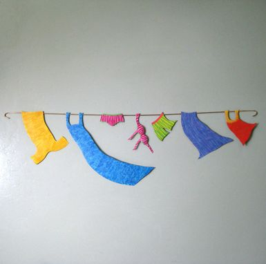 Custom Made Handmade Upcycled Metal Clothesline Wall Art For Laundry Room