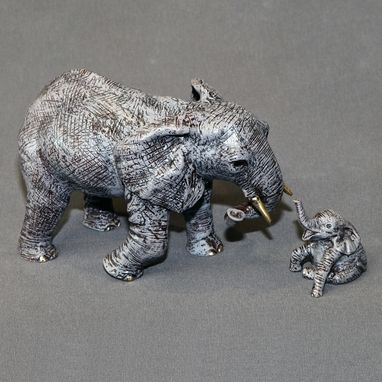 "Custom Made Bronze Elephant ""Elephant Mother And Baby"" Figurine Statue Sculpture Limited Edition Signed Numbered"