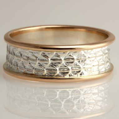 Custom Made Lizard Skin Ring In Sterling Silver And 14k Gold
