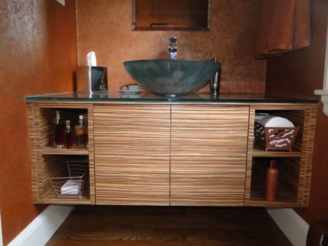 Custom Zebra Wood Wall Vanity By Case By Case Cabinets