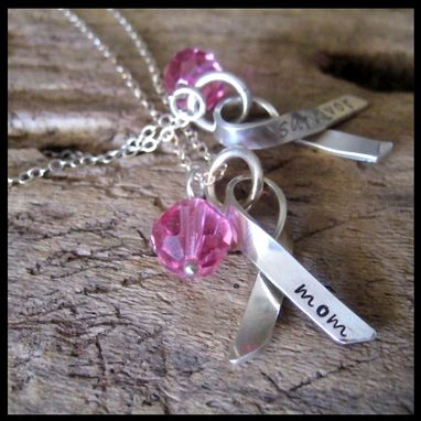 Custom Made Awareness Ribbon Necklace Personalized Hand Stamped Sterling