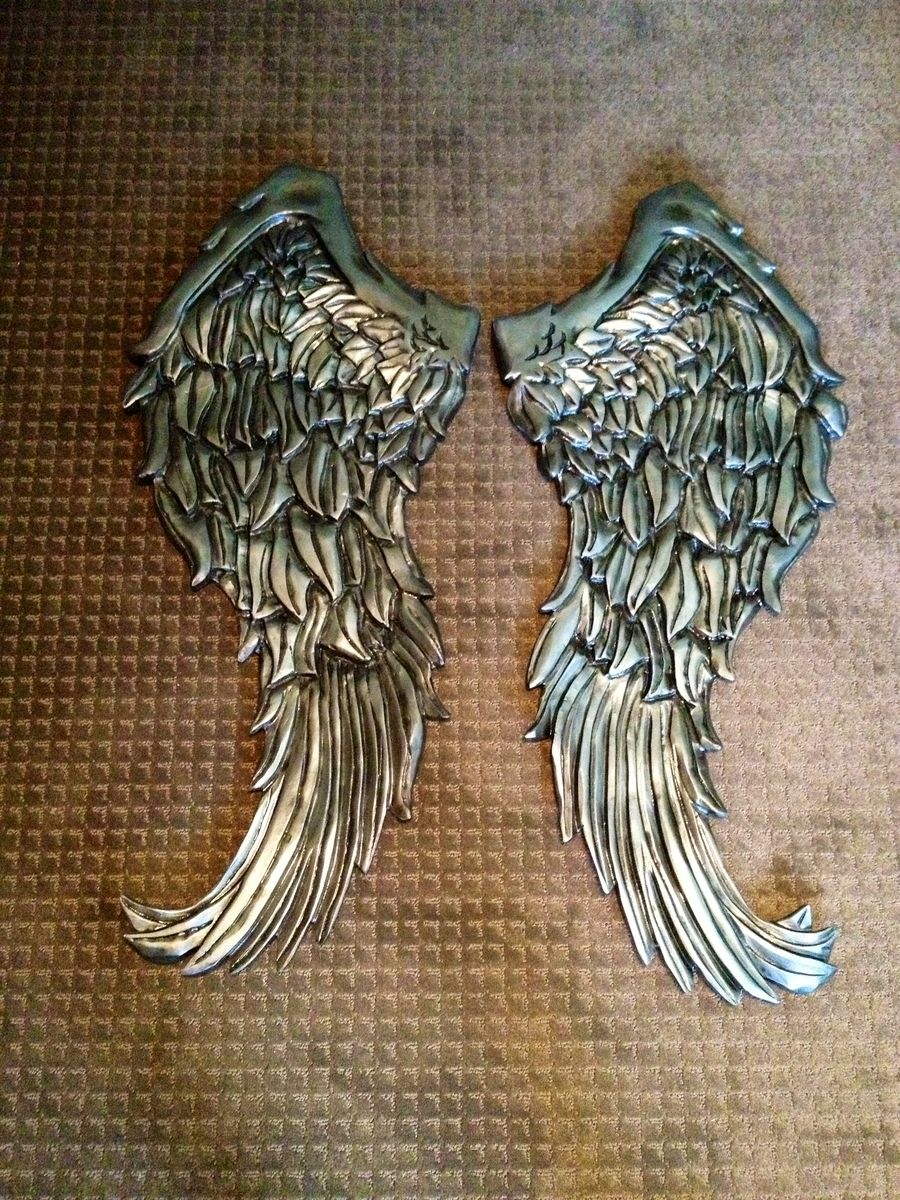 Handmade angel wings wall decor wood carving by nevermore for Angel wall decoration