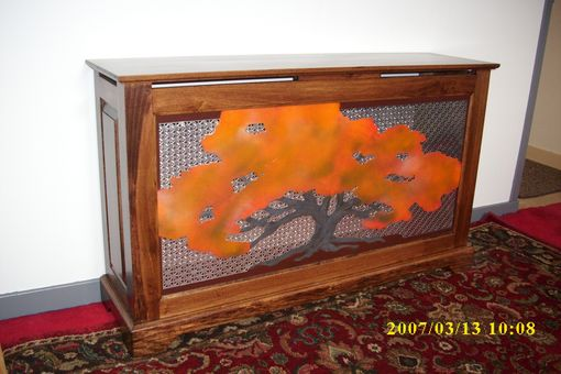 Custom Made Radiator Cabinet With Steel-Carved Tree