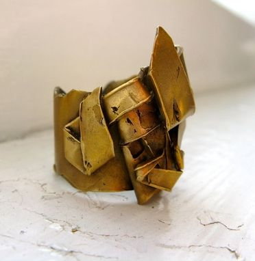 Custom Made Gold Bronze Folded Cocktail Ring