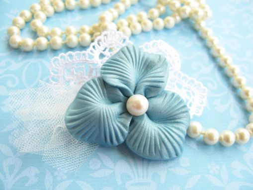 Custom Made Blue Polymer Clay Flower And Freshwater Pearl - Lace Brooch - Accessorize Anything