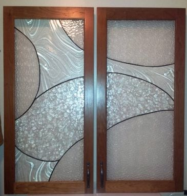 "Custom Made Stained Glass Cabinet Inserts - ""Simplistic Flow"" (Ci-7)"