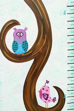 Custom Made Bird & Owl Growth Chart Nursery Art / Kids Room Painting (Not A Print)
