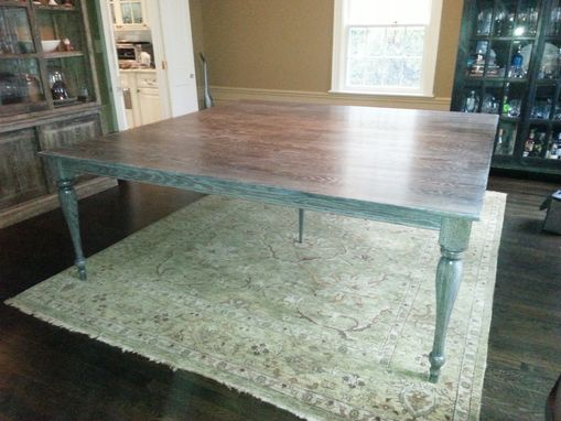 Custom Made Large Cerused Oak Dining Table With Custom Turned Legs