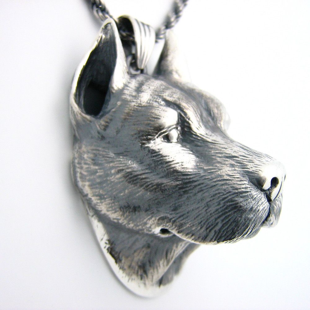 Custom silver pitbull pendant by mava style custommade custom made silver pitbull pendant aloadofball Gallery