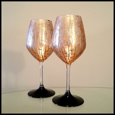 Custom Made Silver Abstract Design Available Now. White Wine Glasses.