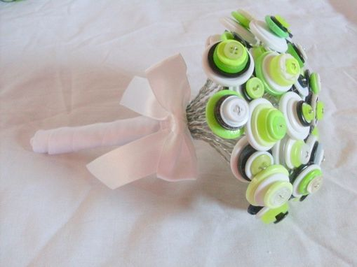 Custom Made Lime Green Buttons Bridal Bouquet
