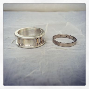Custom Made Roman Numeral Date Wedding Bands