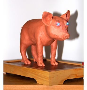 Custom Made Clay Sculpture With Led Lighting. Blue Eye Pigture