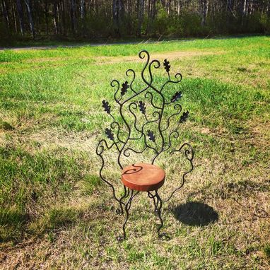 Custom Made Hand Forged Wrought Iron, Oak Leaf And Scroll Garden Chair.