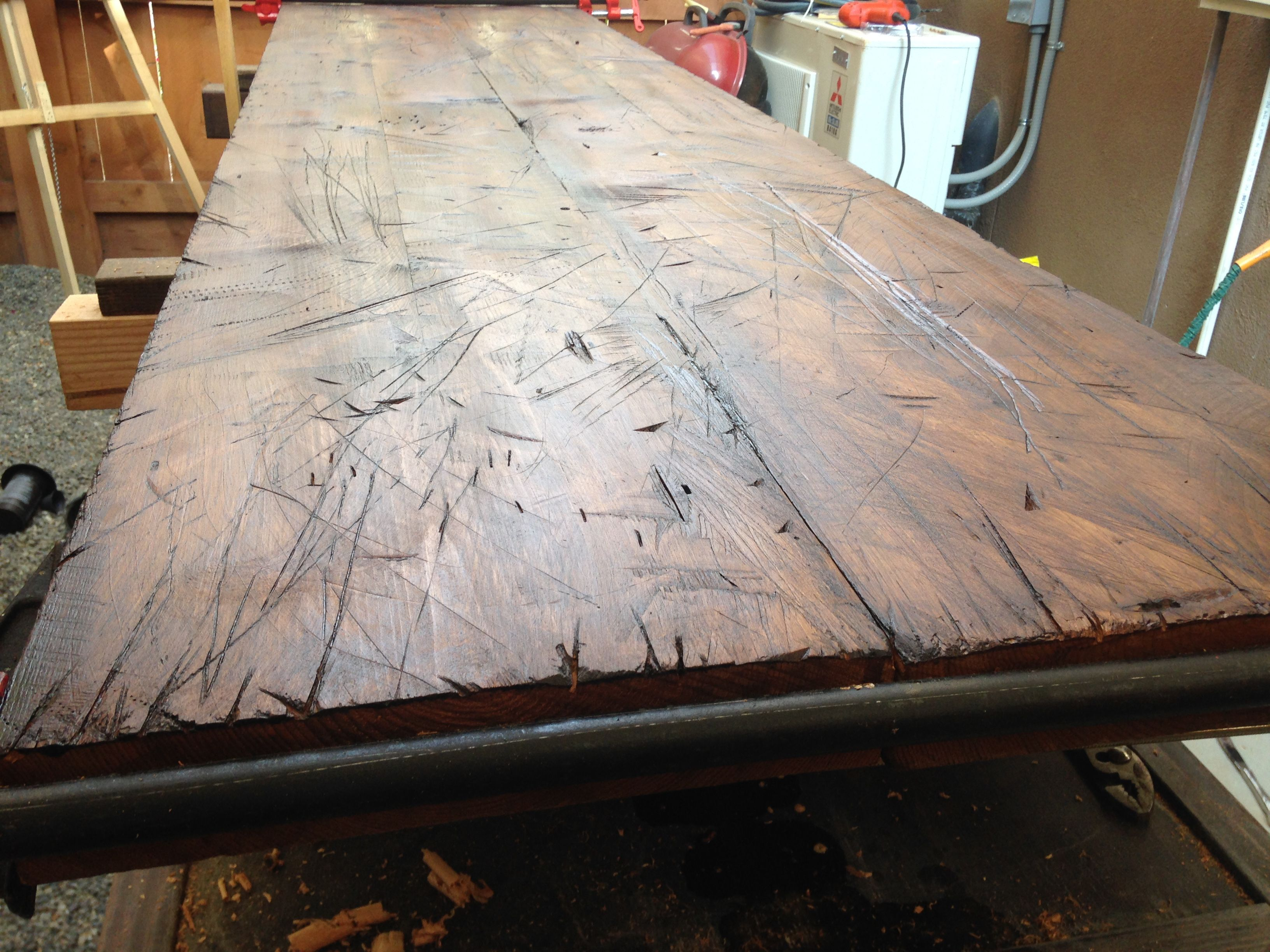 Buy A Custom Made Hand Hewn Distressed Table Top Made To