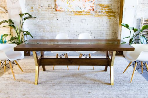 Custom Made Modern Dining Table, Walnut + Brass + Glass: The April