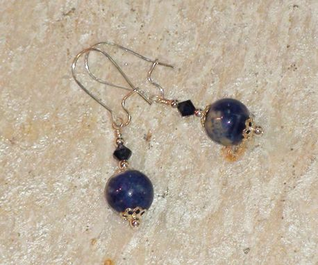 Custom Made Sodalite Earrings With Swarovski Crystals In Silver