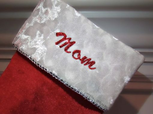 Custom Made Crystallized Personalized Christmas Stocking Decor Bling W/ Swarovski Crystals Bedazzled