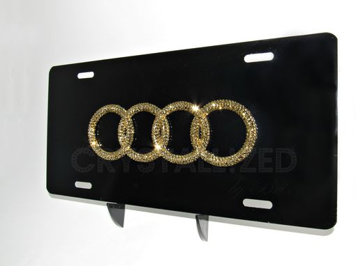 Custom Made Crystallized Audi Car Vanity License Plate Made With Swarovski Crystals