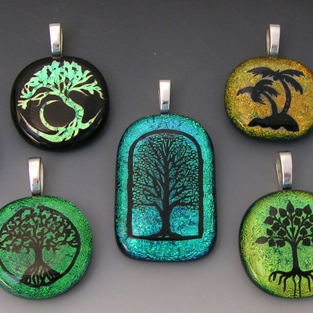 Custom laser etched tree designs dichroic fused glass pendants by custom laser etched tree designs dichroic fused glass pendants by creations in dichroic glass wood custommade mozeypictures Choice Image