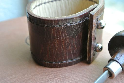 Custom Made Leather Bracelet - Bison Brown