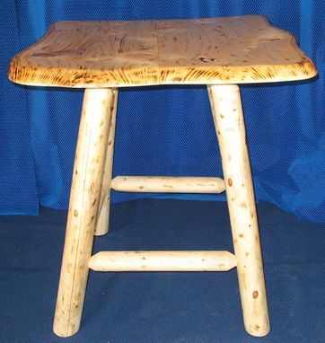 Custom Made Burnt Rustic Bar Table And Stools